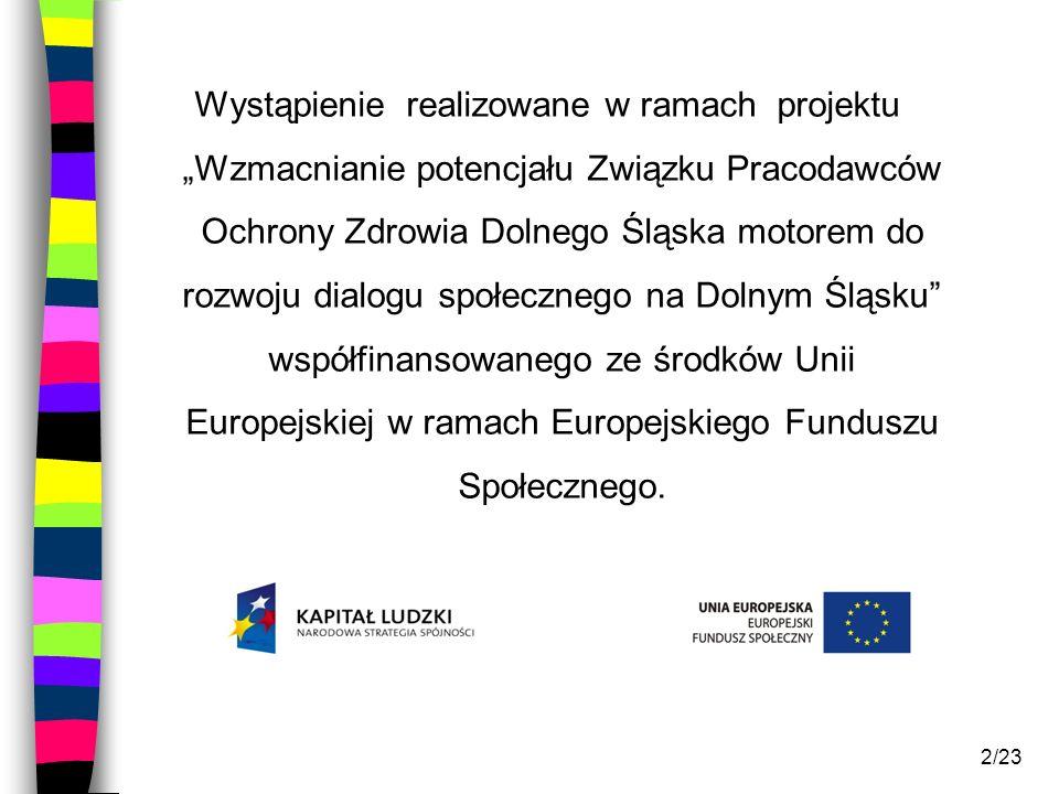 """Wystąpienie realizowane w ramach projektu """"Wzmacnianie potencjału Związku Pracodawców Ochrony Zdrowia Dolnego Śląska motorem do rozwoju dialogu społecznego na Dolnym Śląsku współfinansowanego ze środków Unii Europejskiej w ramach Europejskiego Funduszu Społecznego."""