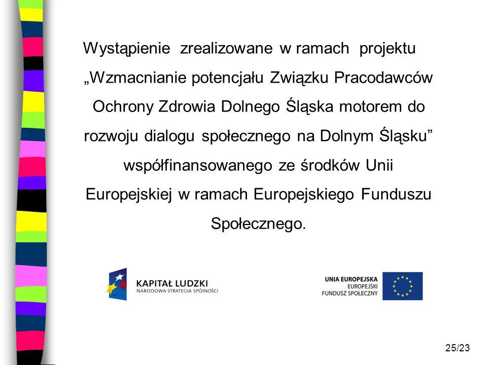 """Wystąpienie zrealizowane w ramach projektu """"Wzmacnianie potencjału Związku Pracodawców Ochrony Zdrowia Dolnego Śląska motorem do rozwoju dialogu społecznego na Dolnym Śląsku współfinansowanego ze środków Unii Europejskiej w ramach Europejskiego Funduszu Społecznego."""