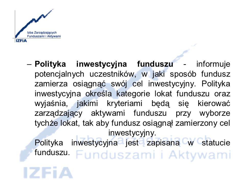 Polityka inwestycyjna funduszu - informuje potencjalnych uczestników, w jaki sposób fundusz zamierza osiągnąć swój cel inwestycyjny.