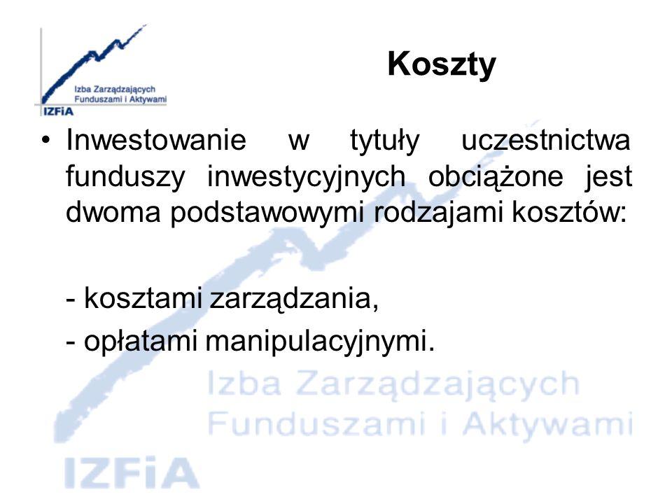 KosztyInwestowanie w tytuły uczestnictwa funduszy inwestycyjnych obciążone jest dwoma podstawowymi rodzajami kosztów: