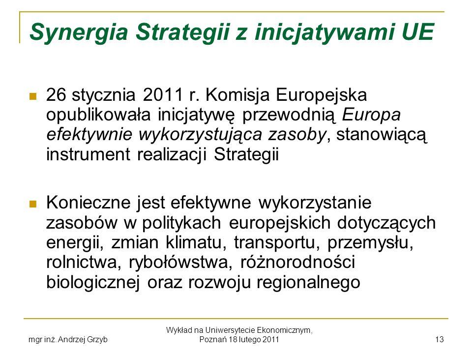 Synergia Strategii z inicjatywami UE