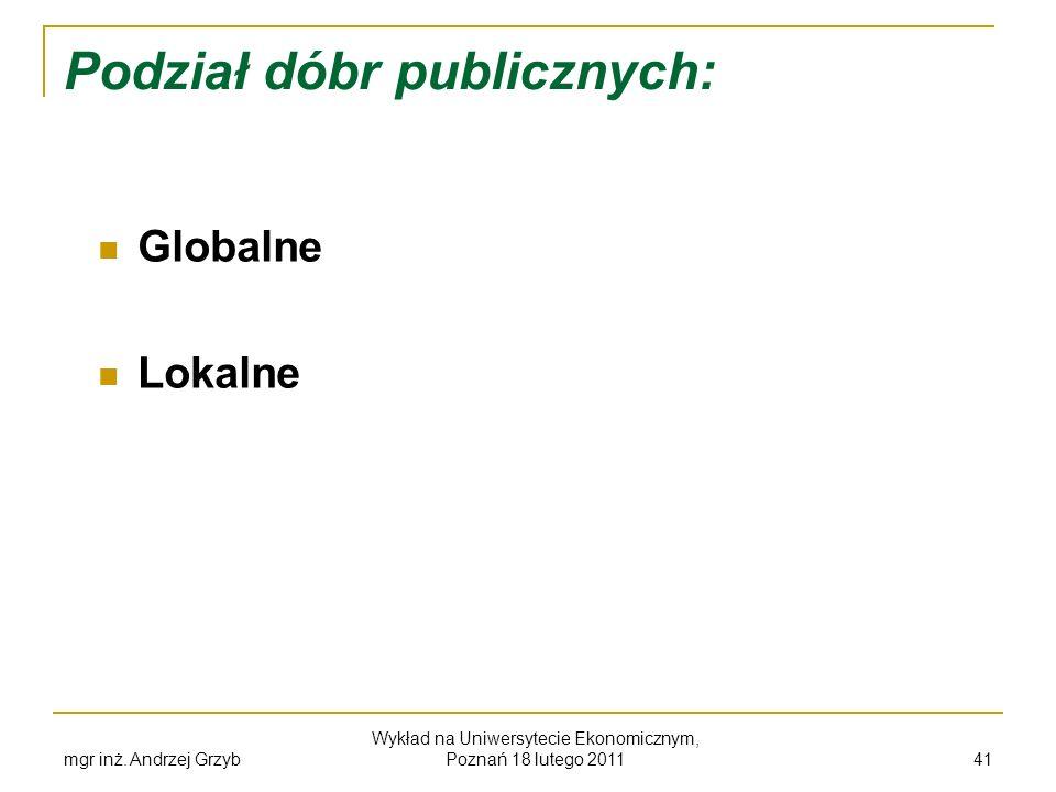 Podział dóbr publicznych:
