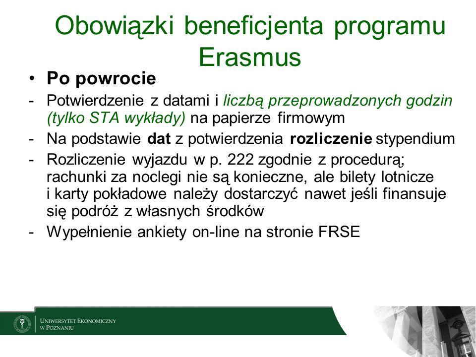 Obowiązki beneficjenta programu Erasmus