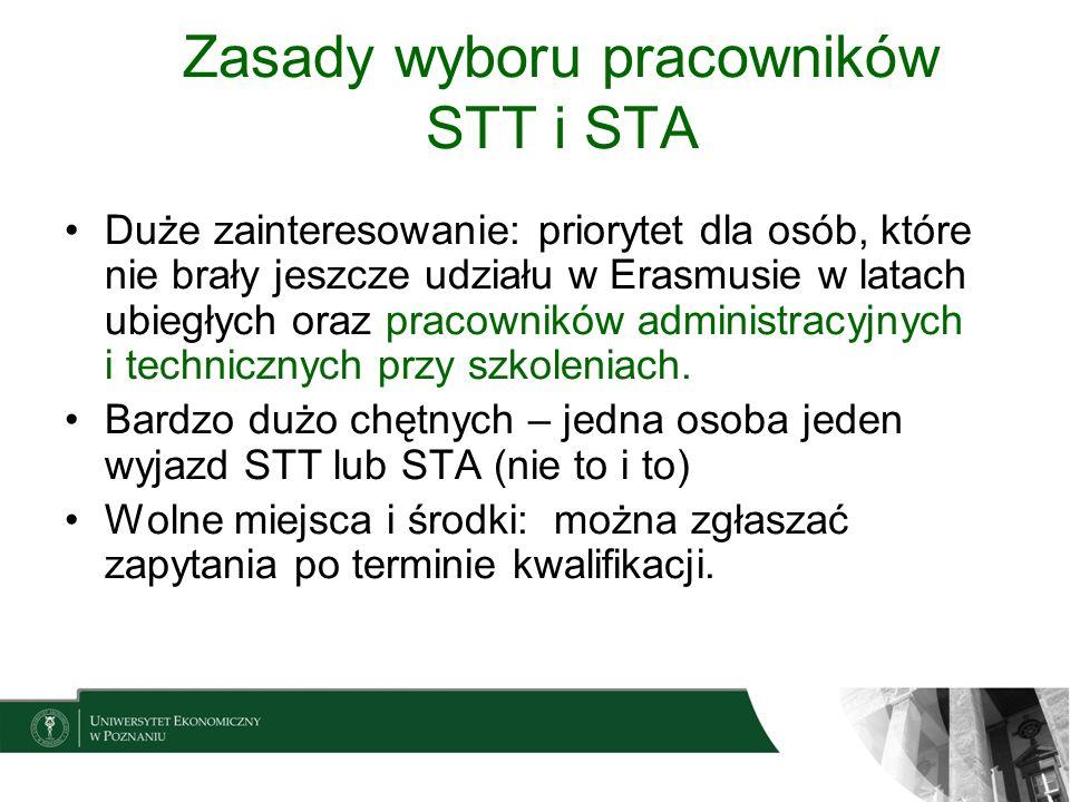 Zasady wyboru pracowników STT i STA