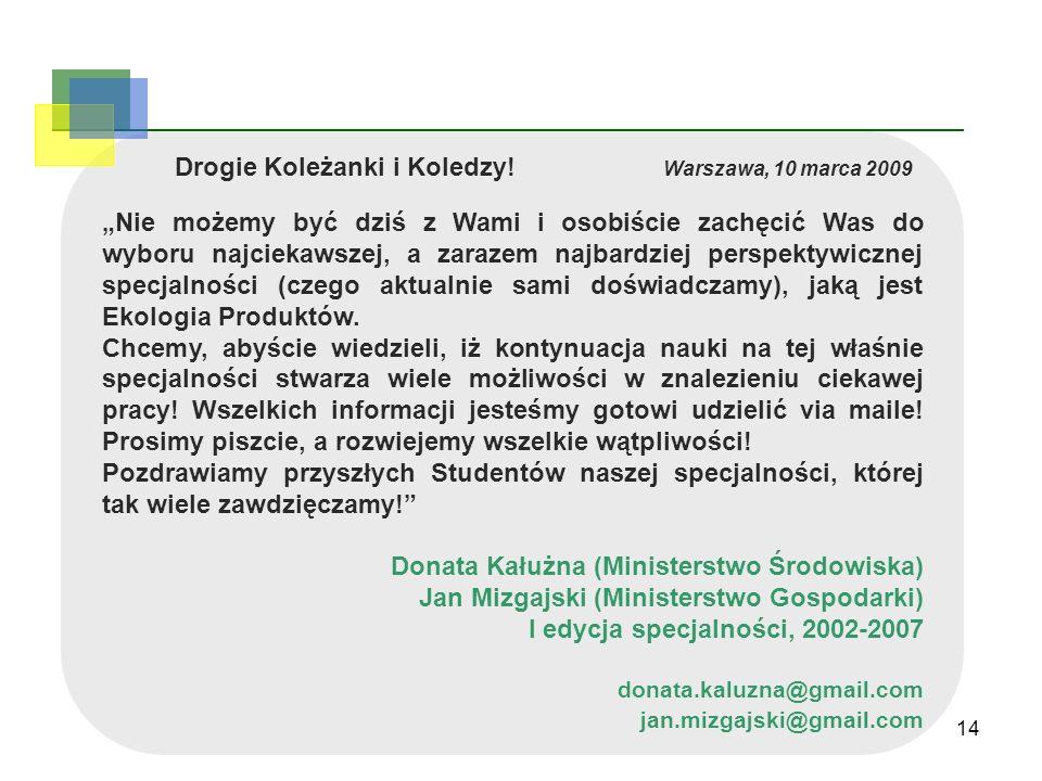 Drogie Koleżanki i Koledzy! Warszawa, 10 marca 2009