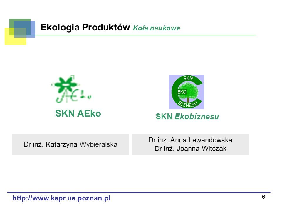 SKN AEko SKN Ekobiznesu Ekologia Produktów Koła naukowe