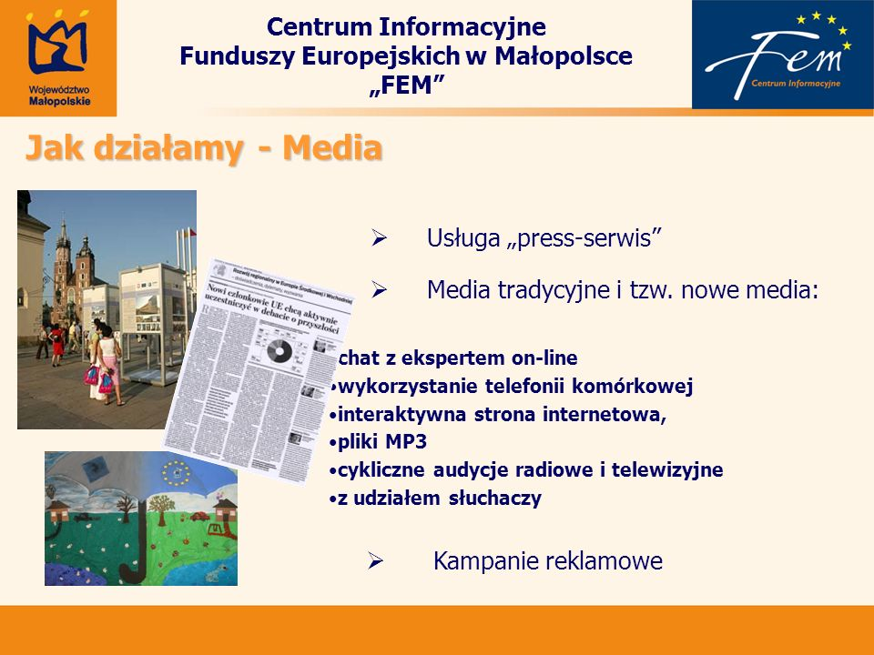 """Centrum Informacyjne Funduszy Europejskich w Małopolsce """"FEM"""