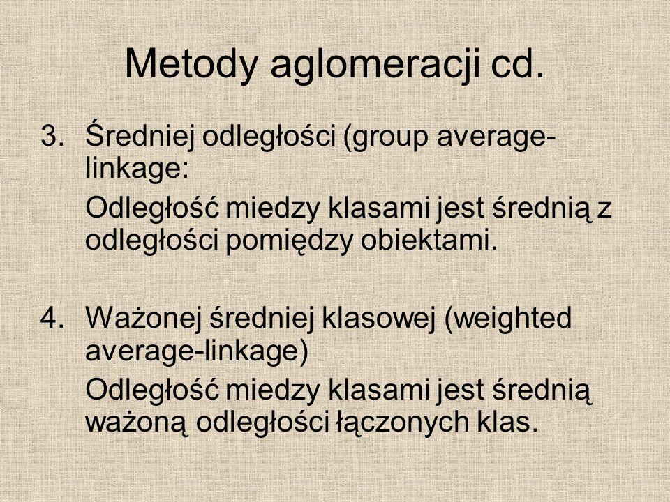 Metody aglomeracji cd. Średniej odległości (group average-linkage: