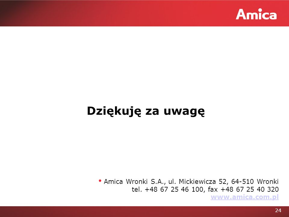 Dziękuję za uwagę Amica Wronki S.A., ul. Mickiewicza 52, 64-510 Wronki