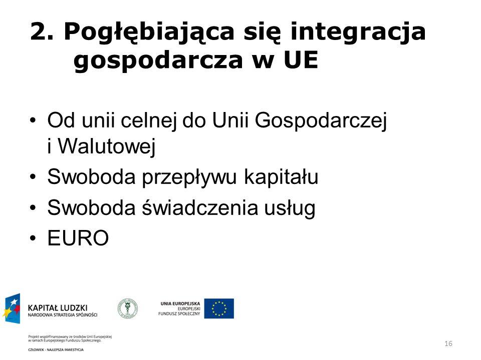 2. Pogłębiająca się integracja gospodarcza w UE