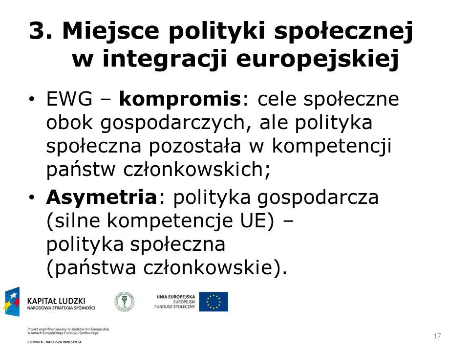 3. Miejsce polityki społecznej w integracji europejskiej