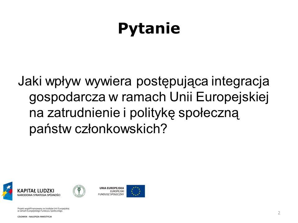 Pytanie Jaki wpływ wywiera postępująca integracja gospodarcza w ramach Unii Europejskiej na zatrudnienie i politykę społeczną państw członkowskich