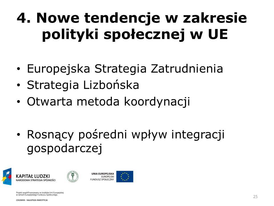 4. Nowe tendencje w zakresie polityki społecznej w UE