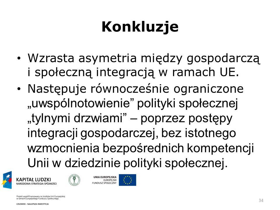 Konkluzje Wzrasta asymetria między gospodarczą i społeczną integracją w ramach UE.