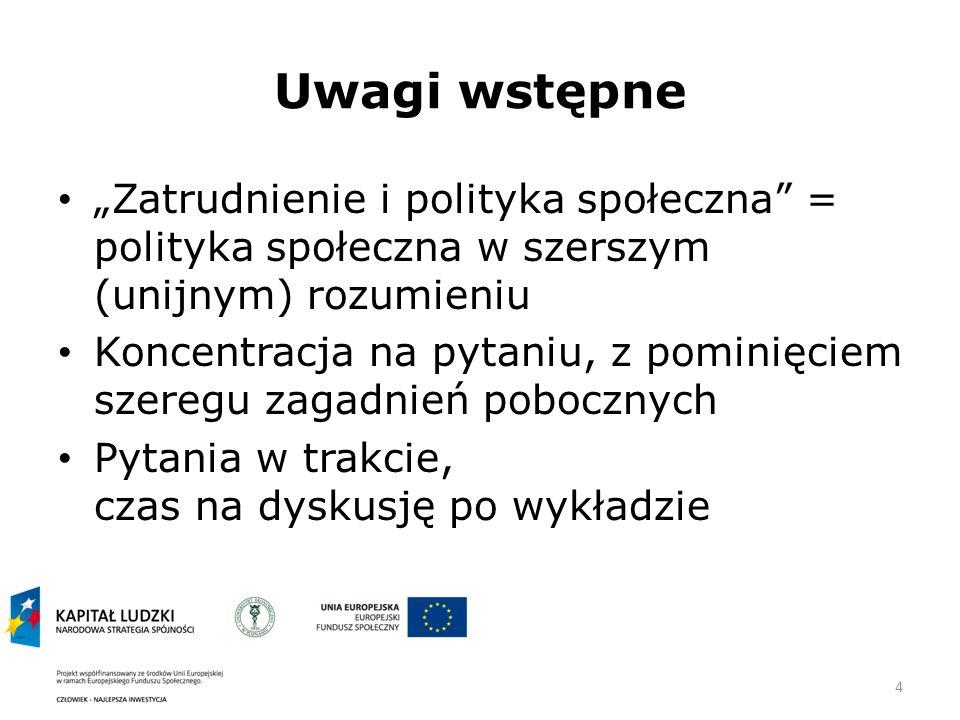 """Uwagi wstępne """"Zatrudnienie i polityka społeczna = polityka społeczna w szerszym (unijnym) rozumieniu."""
