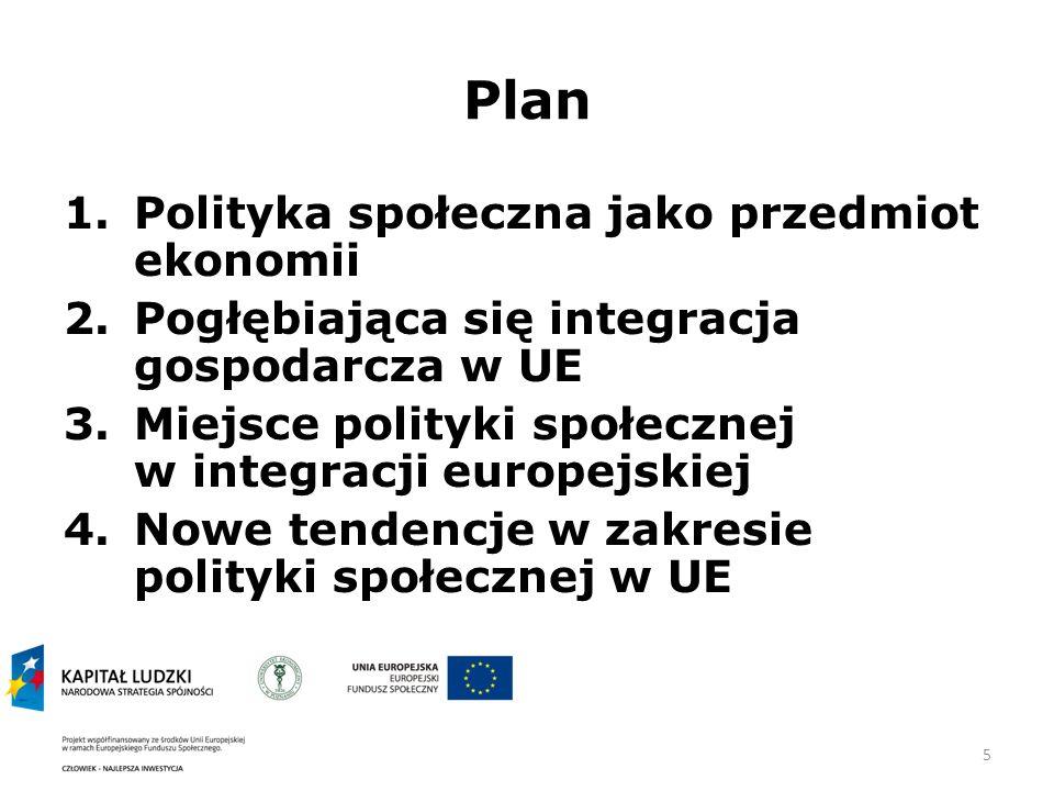 Plan Polityka społeczna jako przedmiot ekonomii