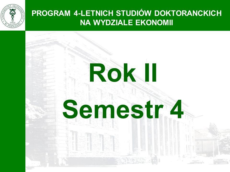 PROGRAM 4-LETNICH STUDIÓW DOKTORANCKICH NA WYDZIALE EKONOMII