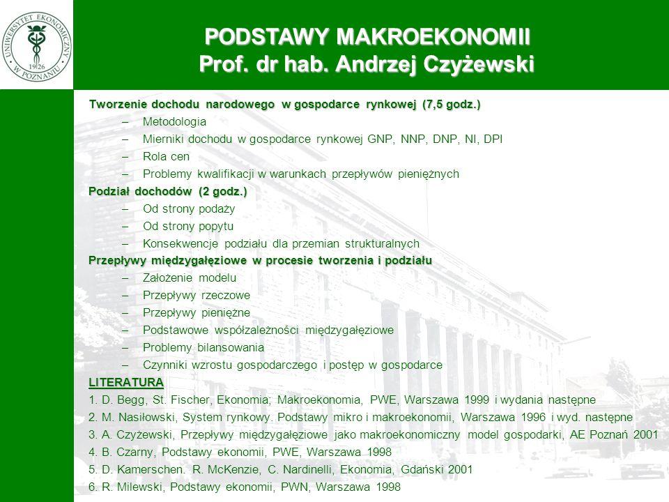 PODSTAWY MAKROEKONOMII Prof. dr hab. Andrzej Czyżewski