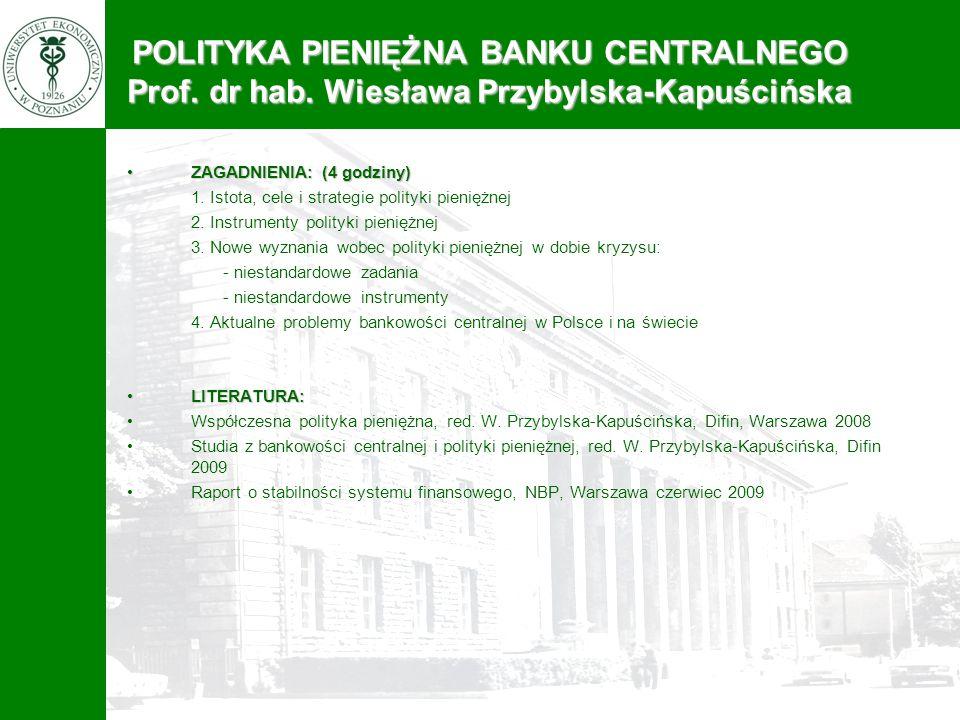 POLITYKA PIENIĘŻNA BANKU CENTRALNEGO