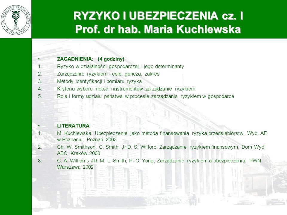 RYZYKO I UBEZPIECZENIA cz. I Prof. dr hab. Maria Kuchlewska