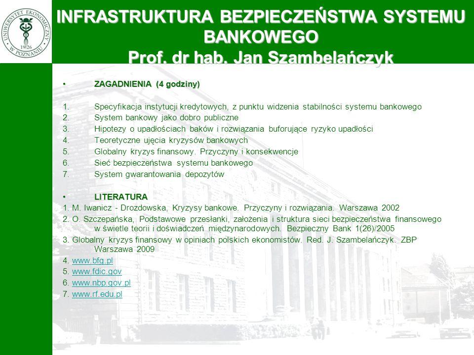 INFRASTRUKTURA BEZPIECZEŃSTWA SYSTEMU BANKOWEGO Prof. dr hab