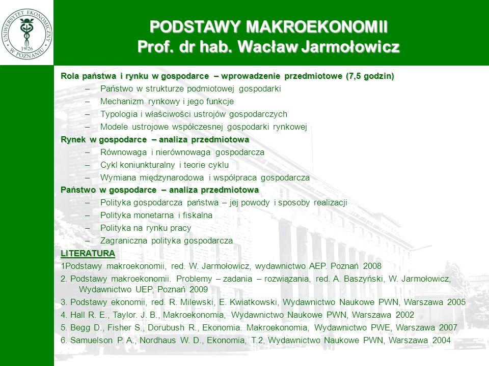 PODSTAWY MAKROEKONOMII Prof. dr hab. Wacław Jarmołowicz