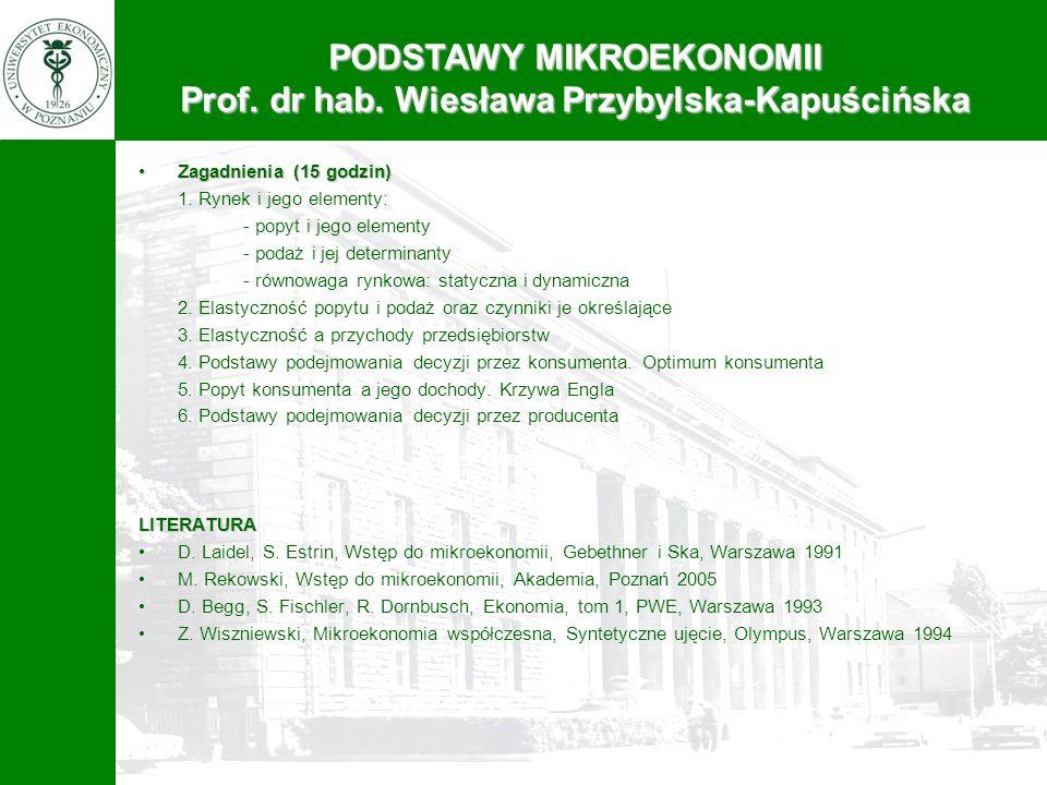 PODSTAWY MIKROEKONOMII Prof. dr hab. Wiesława Przybylska-Kapuścińska