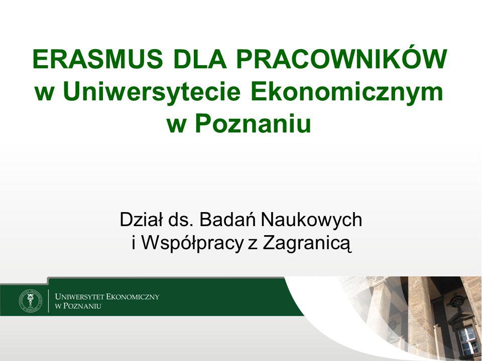 ERASMUS DLA PRACOWNIKÓW w Uniwersytecie Ekonomicznym w Poznaniu