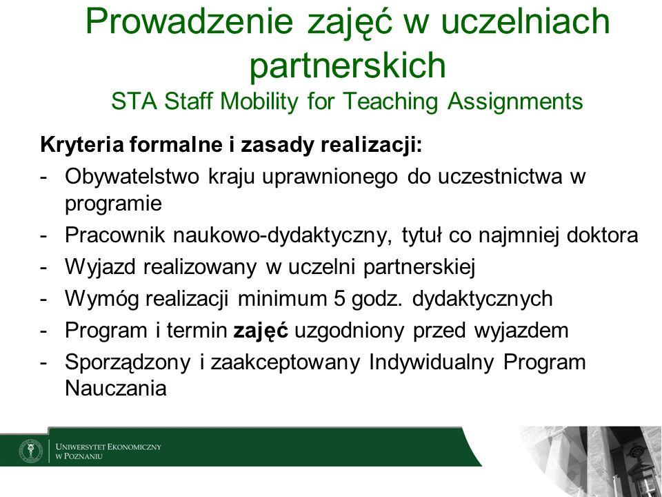 Prowadzenie zajęć w uczelniach partnerskich STA Staff Mobility for Teaching Assignments