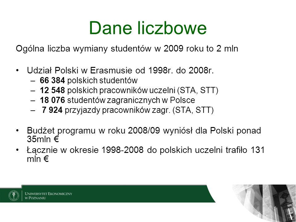 Dane liczbowe Ogólna liczba wymiany studentów w 2009 roku to 2 mln
