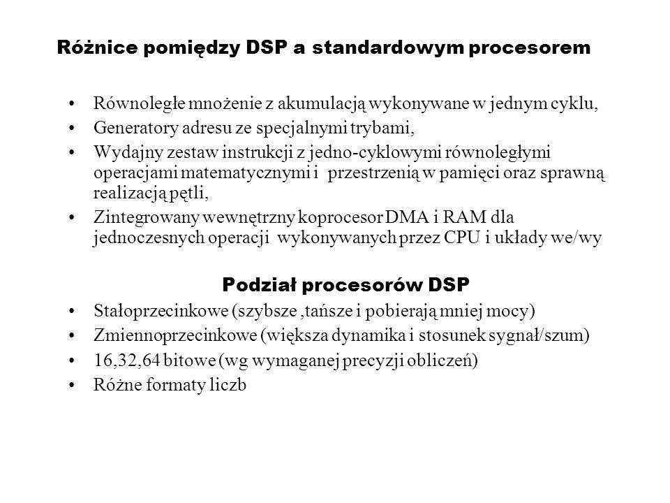 Różnice pomiędzy DSP a standardowym procesorem