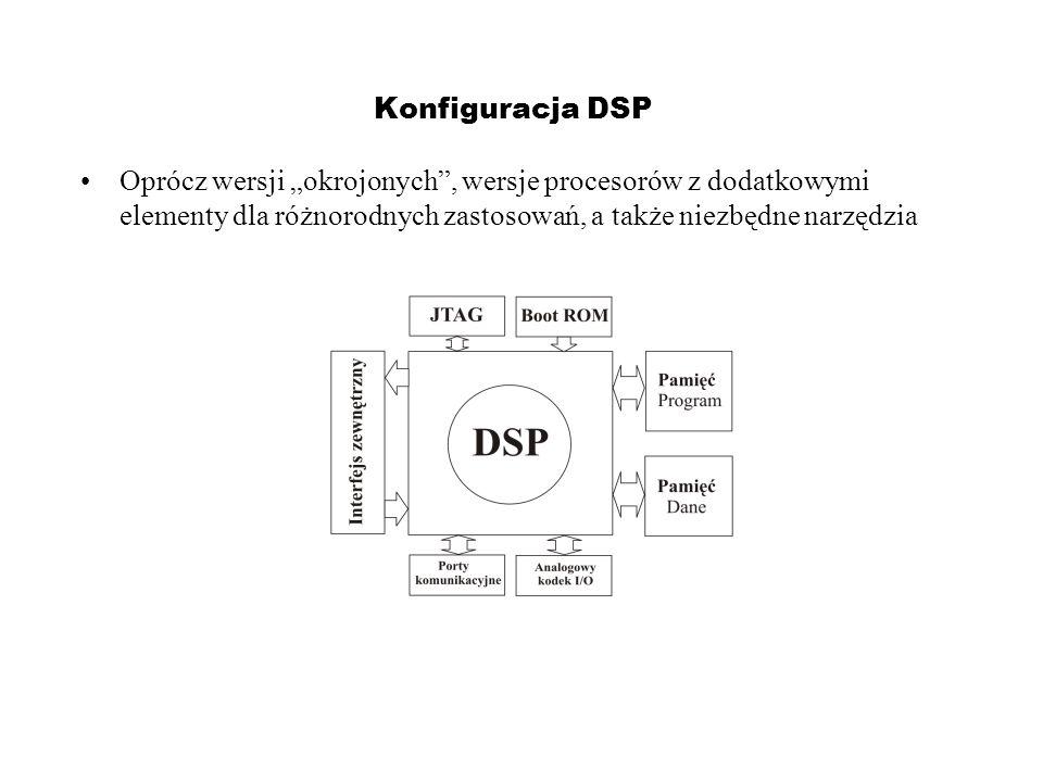 """Konfiguracja DSP Oprócz wersji """"okrojonych , wersje procesorów z dodatkowymi elementy dla różnorodnych zastosowań, a także niezbędne narzędzia."""
