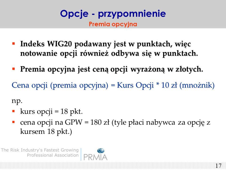 Opcje - przypomnienie Premia opcyjna. Indeks WIG20 podawany jest w punktach, więc notowanie opcji również odbywa się w punktach.