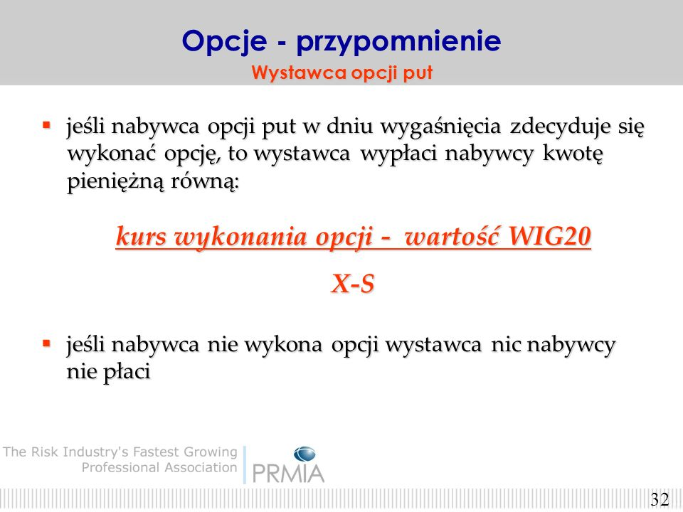 kurs wykonania opcji - wartość WIG20