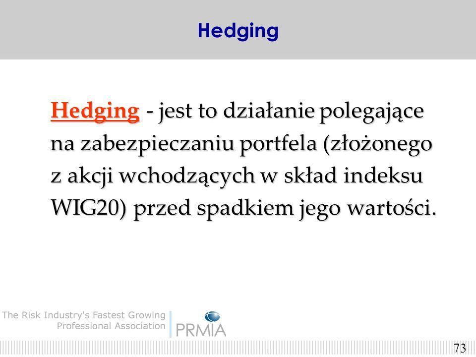 Hedging - jest to działanie polegające