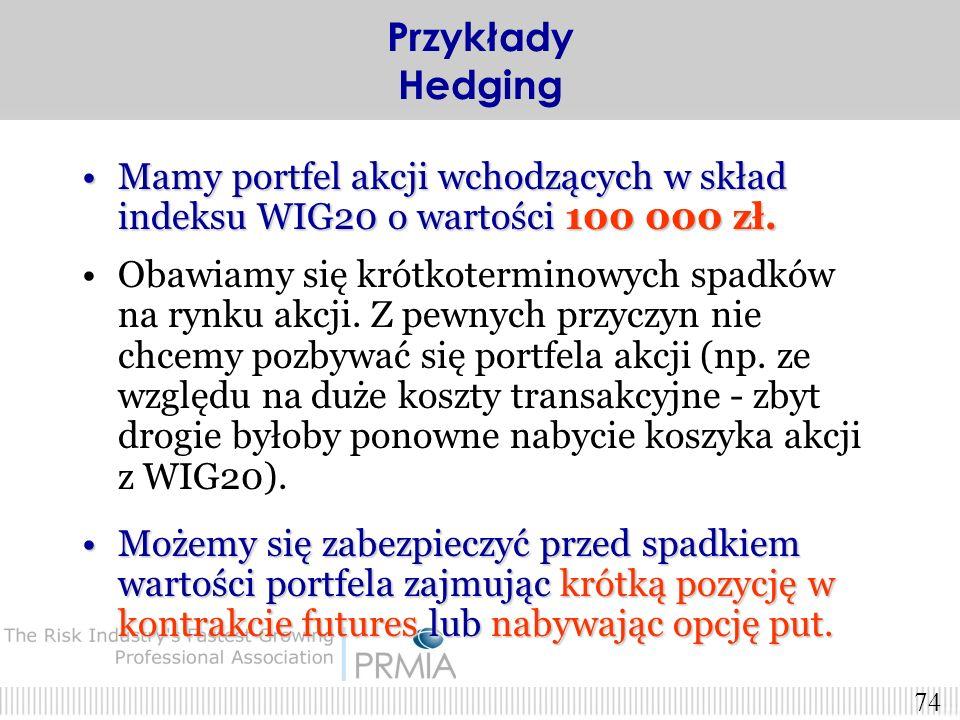 Przykłady Hedging Mamy portfel akcji wchodzących w skład indeksu WIG20 o wartości 100 000 zł.