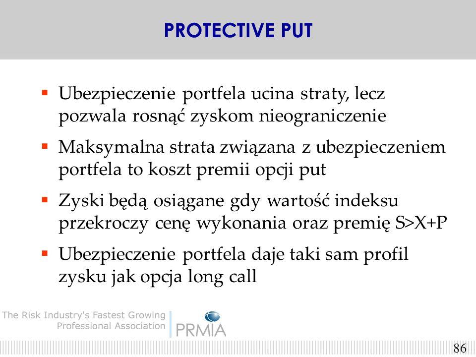 PROTECTIVE PUT Ubezpieczenie portfela ucina straty, lecz pozwala rosnąć zyskom nieograniczenie.