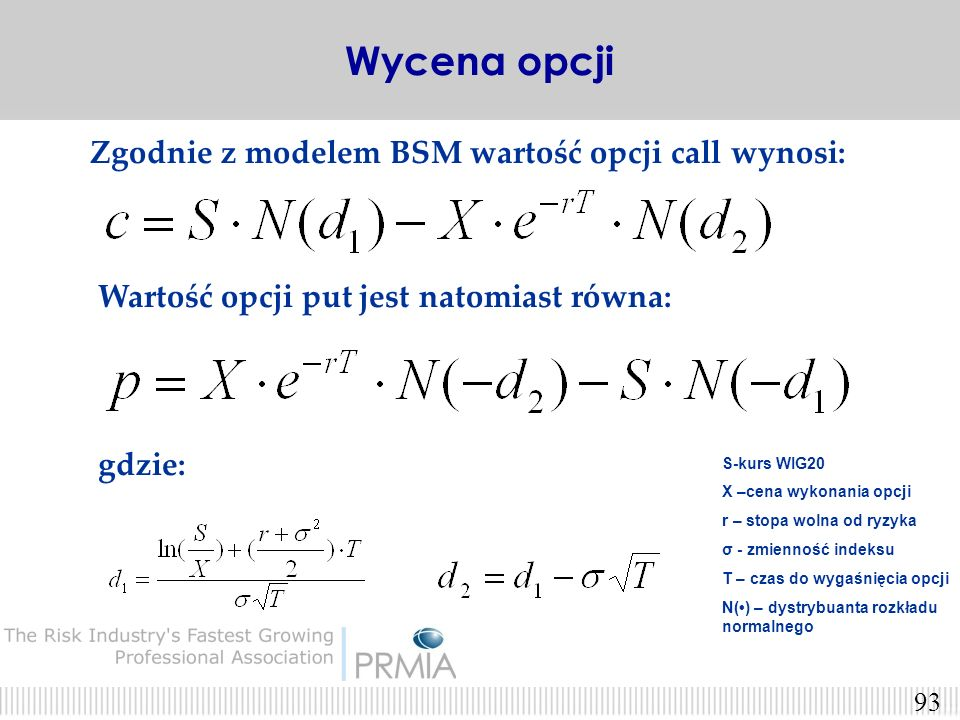 Wycena opcji Zgodnie z modelem BSM wartość opcji call wynosi:
