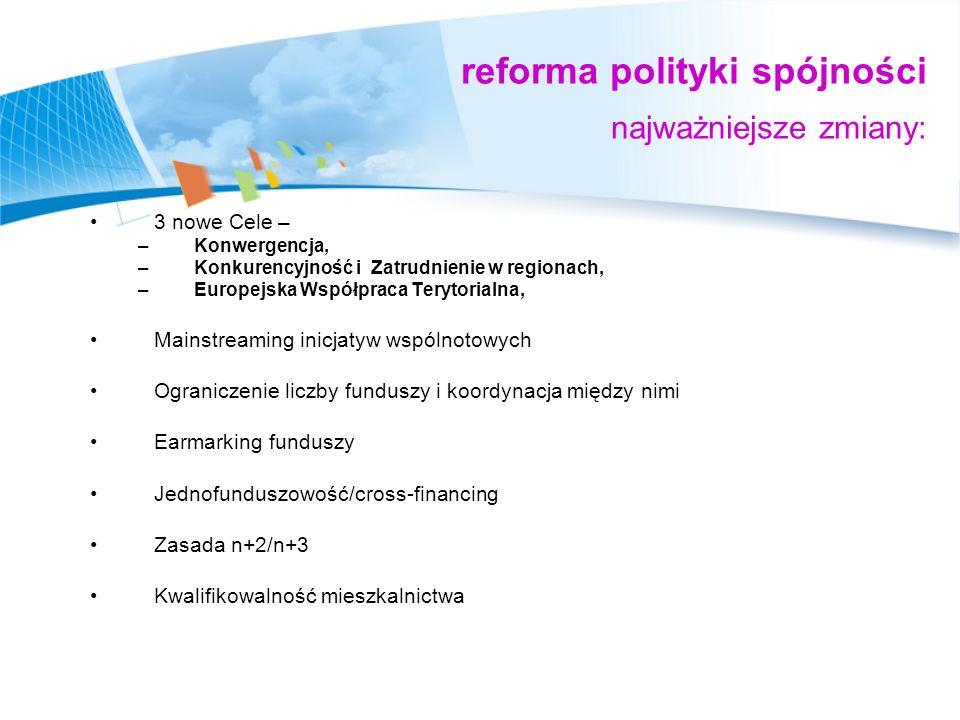 reforma polityki spójności najważniejsze zmiany: