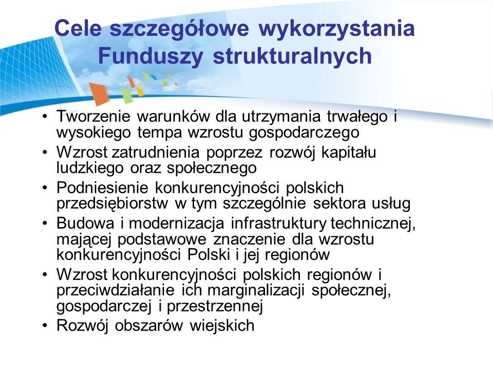Cele szczegółowe wykorzystania Funduszy strukturalnych