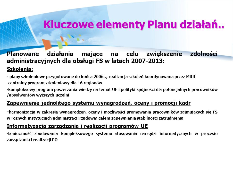 Kluczowe elementy Planu działań..