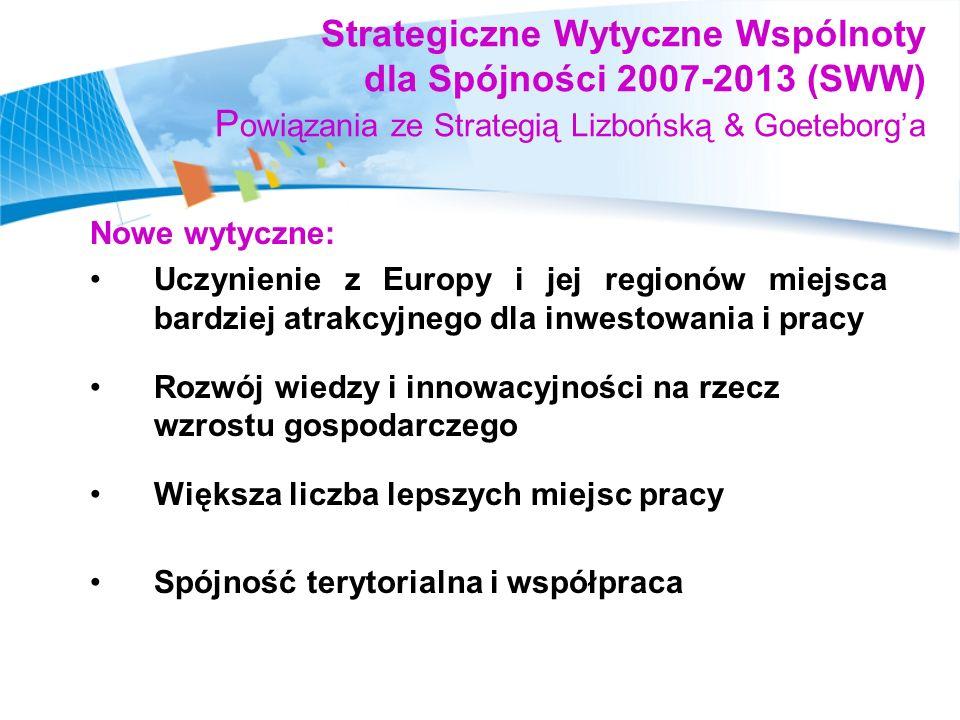 Strategiczne Wytyczne Wspólnoty dla Spójności 2007-2013 (SWW) Powiązania ze Strategią Lizbońską & Goeteborg'a
