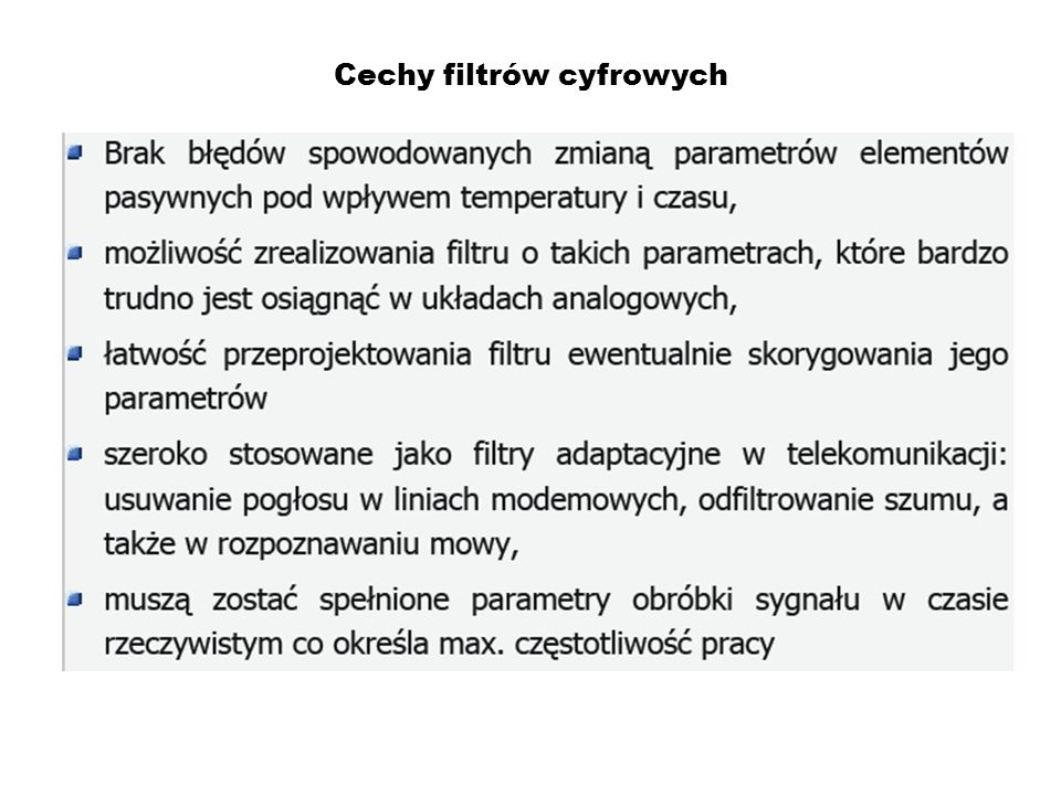 Cechy filtrów cyfrowych