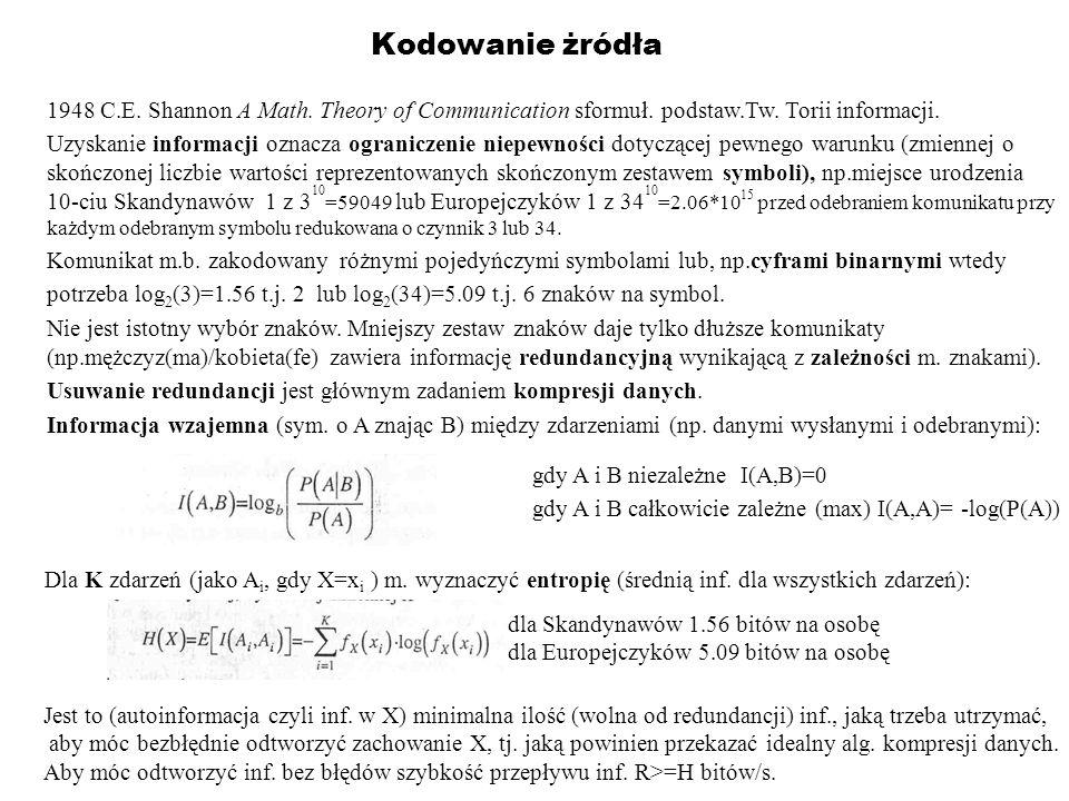 Kodowanie żródła 1948 C.E. Shannon A Math. Theory of Communication sformuł. podstaw.Tw. Torii informacji.