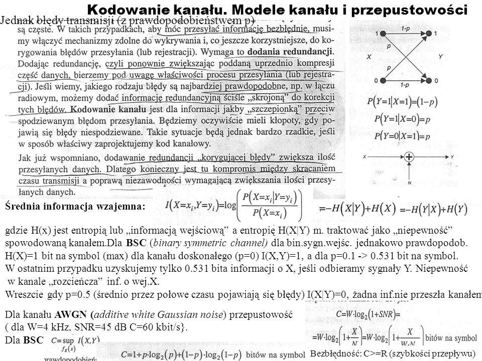 Kodowanie kanału. Modele kanału i przepustowości
