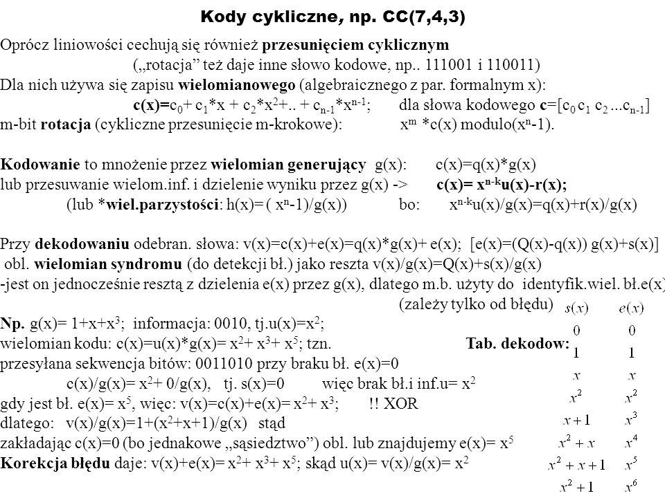 Kody cykliczne, np. CC(7,4,3) Oprócz liniowości cechują się również przesunięciem cyklicznym.