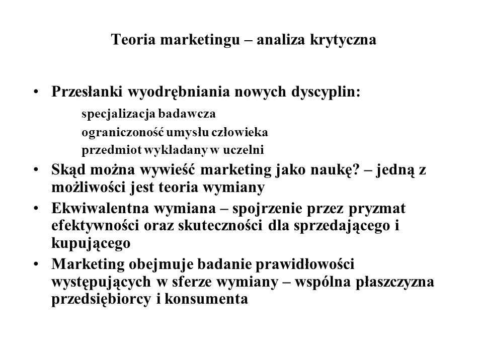 Teoria marketingu – analiza krytyczna