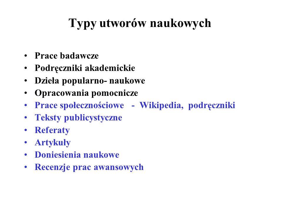 Typy utworów naukowych