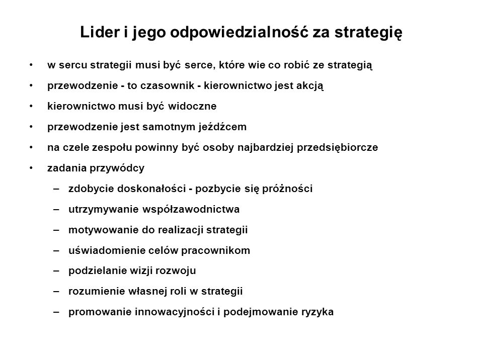 Lider i jego odpowiedzialność za strategię