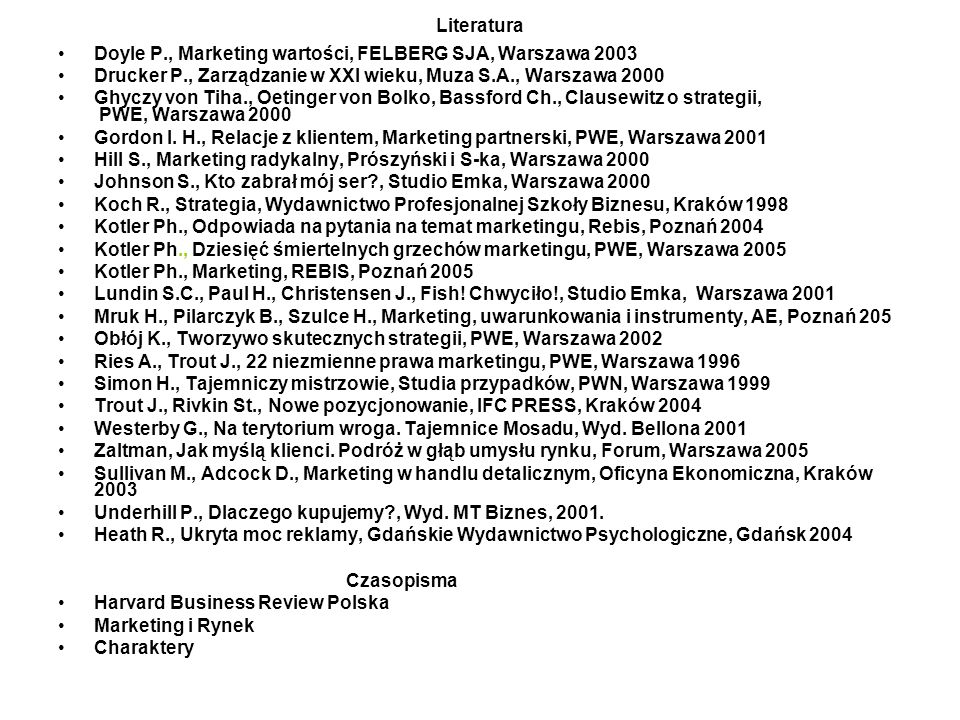Doyle P., Marketing wartości, FELBERG SJA, Warszawa 2003